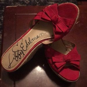 Sam Edelman Red Leather & Canvas Espadrille Wedges
